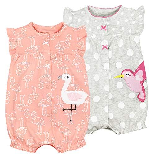 Bebé Verano Monos 2 Piezas - Niñas Pelele de Manga Corta Pijama de Algodón Animales Body para...