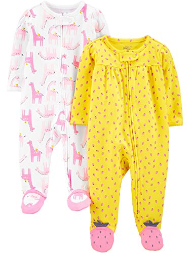 Simple Joys by Carter's 2-Pack Cotton Footed Sleep Play Infant-and-Toddler-Bodysuit-Footies, Llamas...