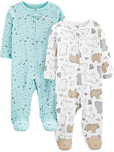 Simple Joys by Carter's Neutral 2-Pack Cotton Footed Sleep and Play Infant Toddler-Bodysuit-Footies,...