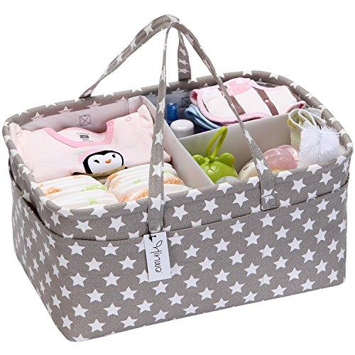 Hinwo - Cesta para pañales de bebé, 3 compartimentos, organizador portátil para el coche, cesta...