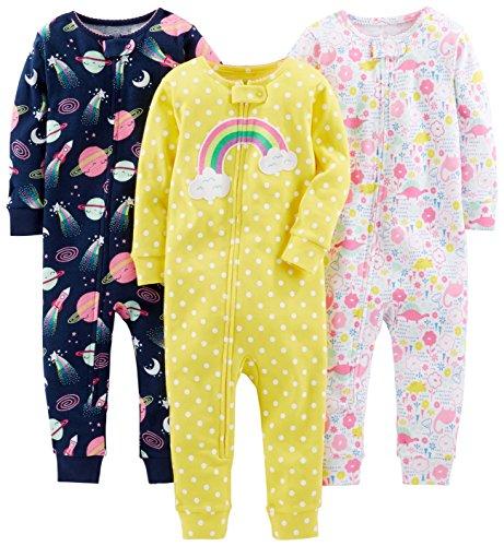 Simple Joys by Carter's - Pijamas enteros - para bebé niña multicolor Dinosaur, Space, Rainbow 12...