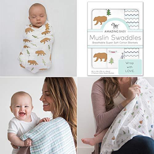 Amazing Baby by Swaddledesigns, Set de 3 Mantas de Muselina Para Bebés, Aventura en La Naturaleza,...