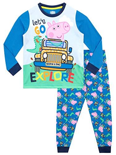 Peppa Pig Pijamas de Manga Larga para niños George Pig Azul 7-8 Años