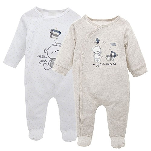 Pack de 2 Pijama para Bebé, Manga Larga Mameluco Pelele Mono Body Trajes 0-3 Meses
