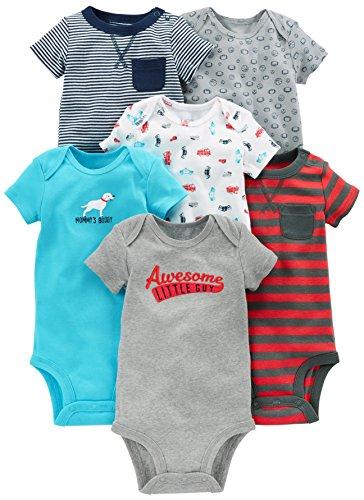Simple Joys by Carter's - Body de manga corta para bebé, 6 unidades ,Azul marino/Rojo ,6-9 Meses