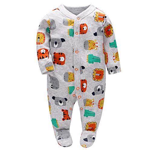 Vine Romper bebé Footies Mono manga larga traje de algodón Peleles para 69 Meses Blanco, Unido