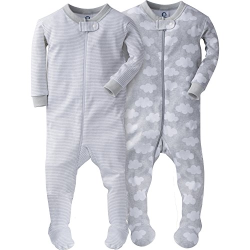 Gerber Baby Boys' 2 Pack Footed Sleeper, Clouds/Stripes, 9 Months