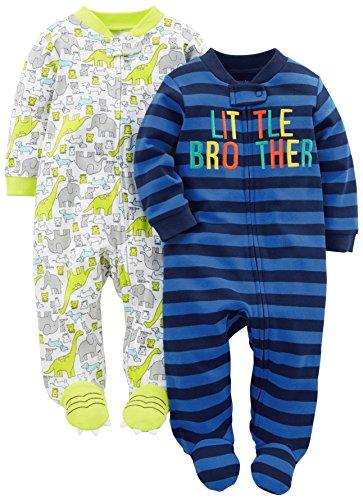 Simple Joys by Carter's Paquete de 2 pieles de algodón para dormir y jugar ,Little Brother/Dino...