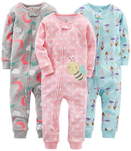Simple Joys by Carter's - Pijamas enteros - para bebé niña multicolor Ballerina/Moon/Bee 6 - 9...