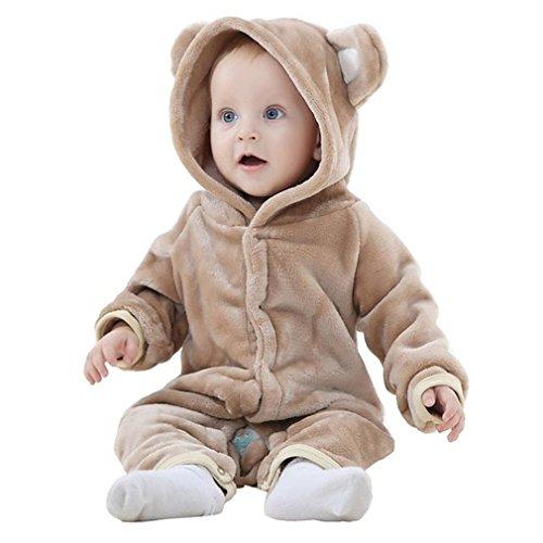 MICHLEY Bebés Ropa Oso Pelele de Niños Niñas del Otoño e Invierno Unisex Pijama Marrón-100cm