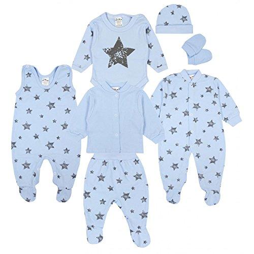 TupTam Conjunto de Ropa Bebé Recien Nacido, 7 Piezas, Gris Estrellas Azul, 62
