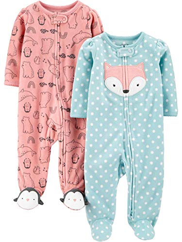 Simple Joys by Carter's 2-Pack Fleece Footed Sleep and Play para bebés y niños pequeños, Rosa,...