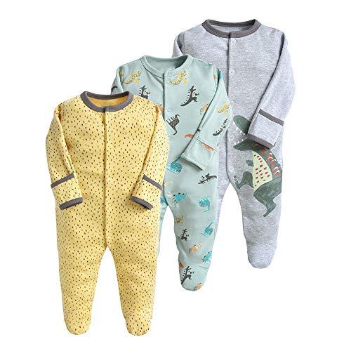 Pijama para bebé, pelele, paquete de 3, unisex, de algodón, 3 a 12 meses gris 6-9 Monate