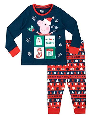 Peppa Pig Pijamas de Manga Larga para niñas Navidad Azul 3-4 Años