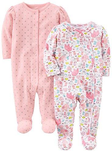 Simple Joys by Carter's Infant-and-Toddler-Sleepers, Animals/Pink Dot, 0-3 Meses