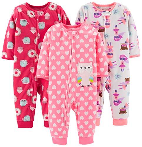 Simple Joys by Carter's - Pelele para dormir - para bebé niña multicolor Superhero/Donut/Owl 18...