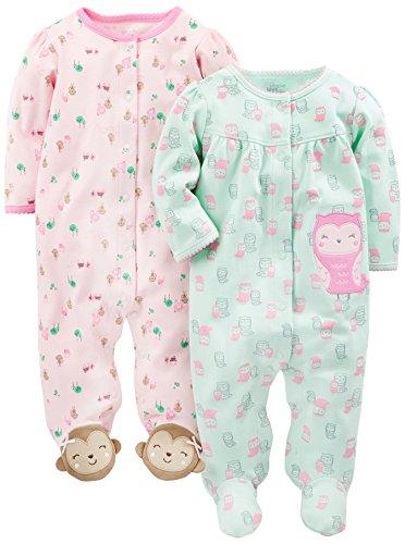Simple Joys by Carter's Baby Girls paquete de 2 pies de algodón para dormir y jugar ,Owl/Monkey...