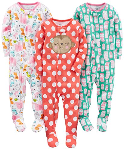 Simple Joys by Carter's Infant-and-Toddler-Sleepers, Owl/Monkey/Animals Green, 4T