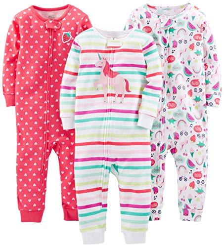 Simple Joys by Carter's pijama de algodón sin pies para bebés y niñas pequeñas, paquete de 3...