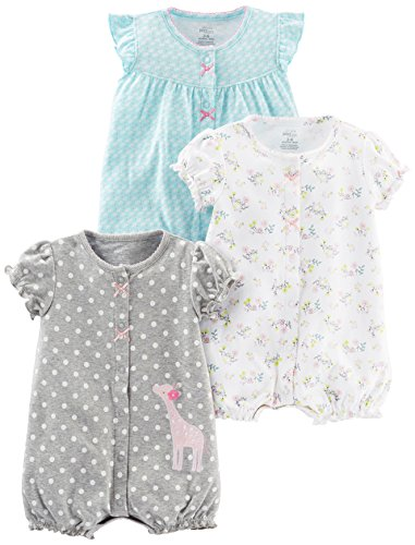 Simple Joys by Carter's Baby Girls paquete de 3 pelele de ajuste ,Blue Swan/White Floral/Gray Dot...
