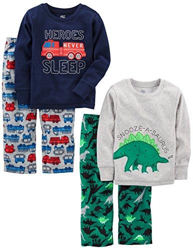 Simple Joys by Carter's Pijama para niños pequeños y niños pequeños, 4 piezas ,Dino/Firetruck...