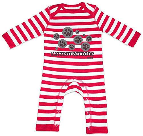 Hariz - Pijama para bebé, diseño de rayas rojo Bomberos rojo/blanco lavado. Talla:6-12 meses