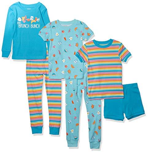 Spotted Zebra 6-Piece Snug-Fit Cotton Pajama Set Sets, Brunch Bunch, 4T, Pack de 6