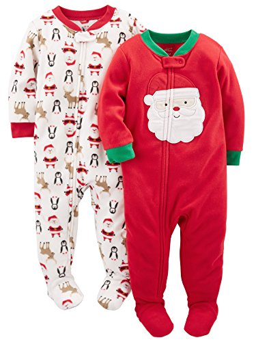 Simple Joys by Carter's Unisex bebé 2-pack Holiday Loose Fit Flame Resistant Fleece Footed Pajamas