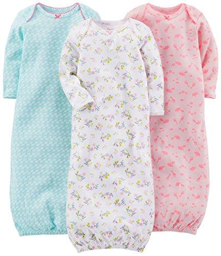 Simple Joys by Carter's Baby Girls paquete de 3 pijamas de algodón ,Blue, Pink, White Floral ,US NB...