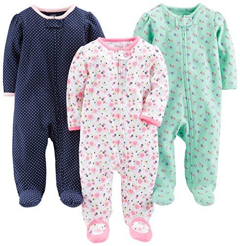 Simple Joys by Carter's Baby Girls paquete de 3 para dormir y jugar ,Pink Floral, Blue Floral, Navy...