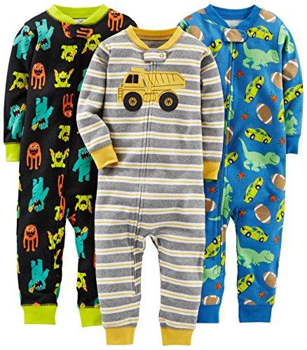 Simple Joys by Carter's - Pijama entero - para bebé niño multicolor Monsters/Dino/Construction 2T
