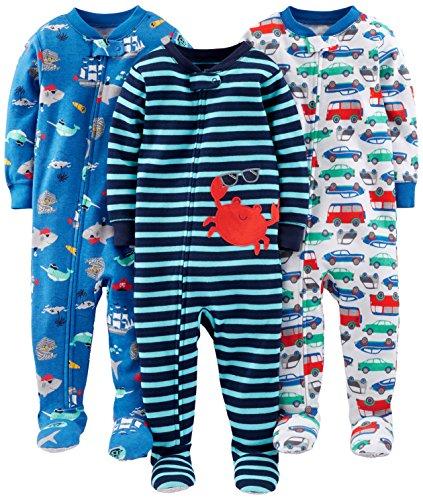 Simple Joys by Carter's pijama de algodón para bebés y niños pequeños, 3 unidades ,Crab/Sea...