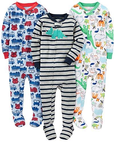 Simple Joys by Carter's pijama de algodón para bebés y niños pequeños, 3 unidades ,Fire...